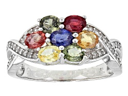 DOCX056<br>1.75ctw Oval Multi Sapphire And .13ctw Round White Zircon Sterling Silver Ring