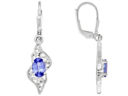 BCH171<br>1.40ctw Oval Tanzanite Sterling Silver Solitaire Earrings