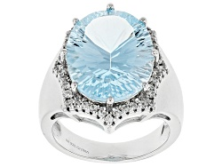 SMH068<br>8.93ct Oval Glacier Topaz(Tm) And .17ctw Round White Zircon Sterling Silver Ring
