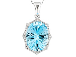 SMH069<br>8.93ct Oval Glacier Topaz(Tm) And .17ctw Round White Zircon Sterling Silver Pendant With C