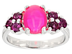 SMH406<br>1.10ct Oval Cabochon Pink Ethiopian Opal With .77ctw Rhodolite Garnet Sterling Silver Ring