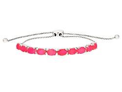 SMH408<br>2.70ctw Oval Pink Ethiopian Opal Sterling Silver Sliding Adjustable Bracelet
