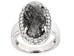 SMH546<br>6.80ct Oval, Criss-cross Cut Tourmlinated Quartz With .45ctw Round White Zircon Sterling S