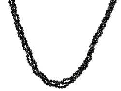 DOCX239<br>Approximately 50.00ctw Round Black Spinel Bead 3-strand Torsade Sterling Silver Necklace