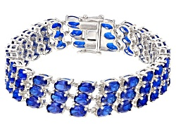RRH122<br>32.29ctw Oval Lab Created Blue Spinel Sterling Silver 3-row Bracelet