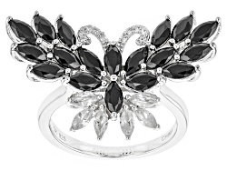 RRH242<br>1.87ctw Marquise Black Spinel With .42ctw Marquise And Round White Zircon Silver Butterfly