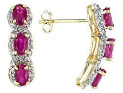 KDK008<br>1.63ctw Oval Burmese Ruby And .40ctw Round White Zircon 14k Yellow Gold 3-stone Earrings