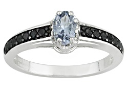 YAH106<br>.38ct Oval Titanium Spinel With .25ctw Round Black Spinel Sterling Silver Ring