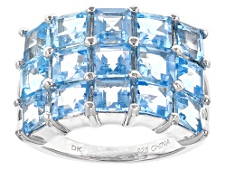 YAH227<br>5.10ctw Square Swiss Blue Topaz Sterling Silver Ring