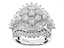 BJQ655<br>Bella Luce (R) 6.77ctw Diamond Simulant Rhodium Over Sterling Silver Ring (4.71ctw Dew)