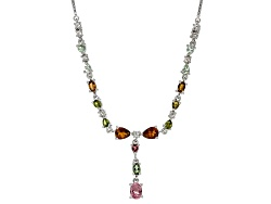 RNH389<br>3.83ctw Pink, Yellow, Green, And Brown Tourmaline With .53ctw White Topaz Sterling Silver