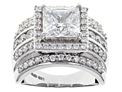 BJQ715<br>Bella Luce (R) 7.43ctw Diamond Simulant Rhodium Over Sterling Silver Ring (4.36ctw Dew)