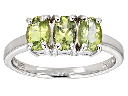 RNH540<br>1.02ctw Oval Amblygonite 3-stone Sterling Silver Ring
