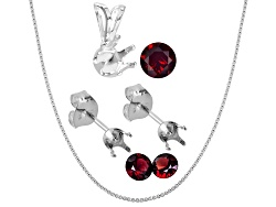 JMK040<br>Arizona Anthill Garnet (1) 5mm Round And (2) 4mm Round; S/S Pendant And Earring Castings;