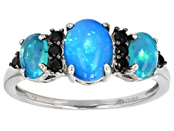 JJH193<br>1.35ctw Oval Cabochon Blue Ethiopian Opal And .21ctw Round Black Spinel Sterling Silver 3-