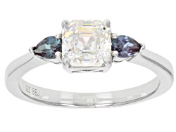 UAH162<br>1.58ct Lab Created Strontium Titanate, .36ctw Lab Created Color Change Alexandrite Silver