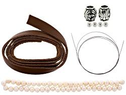 JMKIT618<br>Leather And Lace Necklace Project Kit Incl Bead Stringing Wire, Leather Lace, Beads, & C