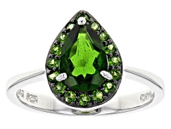 JJH481<br>1.60ctw Pear Shape And Round Russian Chrome Diopside Sterling Silver Ring