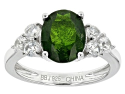 JJH485<br>2.70ct Oval Russian Chrome Diopside With .87ctw Round White Zircon Sterling Silver Ring