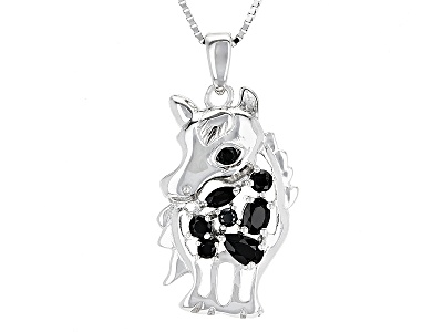 52ctw black spinel sterling silver horse pendant with chain 52ctw black spinel sterling silver horse pendant with chain aloadofball Gallery