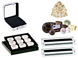 GCK022<br>75.00ctw Mixed Custom Cut Quartz; Oregon Sunstone 10mm Trillion; (3) Display Boxes; Tray W