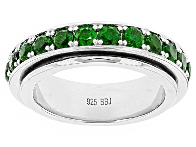 ctw Round Russian Chrome Diopside Sterling Silver Spinner Ring