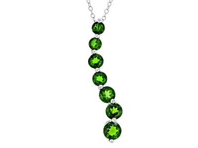 Ctw graduated 35 5mm round russian chrome diopside sterling silver 240ctw graduated 35 5mm round russian chrome diopside sterling silver journey pendant with chain aloadofball Images