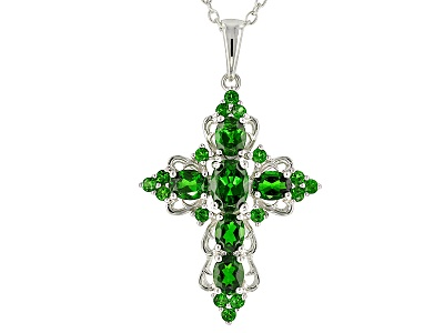 Ctw oval and round russian chrome diopside sterling silver cross 275ctw oval and round russian chrome diopside sterling silver cross pendant with chain aloadofball Images